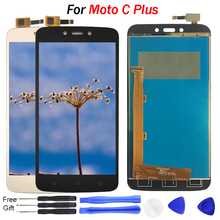 купить Tested display For Motorola Moto C Plus LCD Display Touch Screen Digitizer Sensor Glass Assembly Free tools C Plus XT1723 LCD дешево