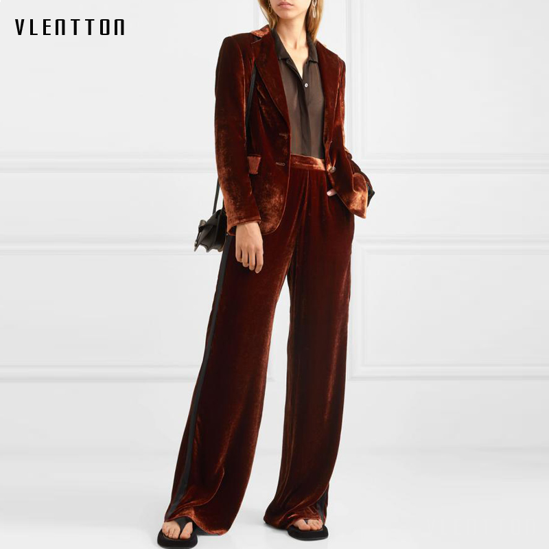 2020 Autumn Velvet Two Piece Set Women Single Breasted Blazer Jacket And Zipper Flare Pants Suit Office Lady 2 Piece Set Female