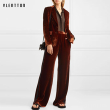 2020 Autumn Velvet Two Piece Set Women Single Breasted Blazer Jacket And Zipper