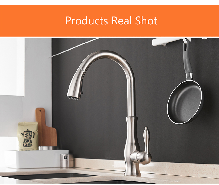 H091d6dc56f3c4d1c8381f3e8795f4cb29 Gold Kitchen Faucets Silver Single Handle Pull Out Kitchen Tap Single Hole Handle Swivel Degree Water Mixer Tap Mixer Tap 866011