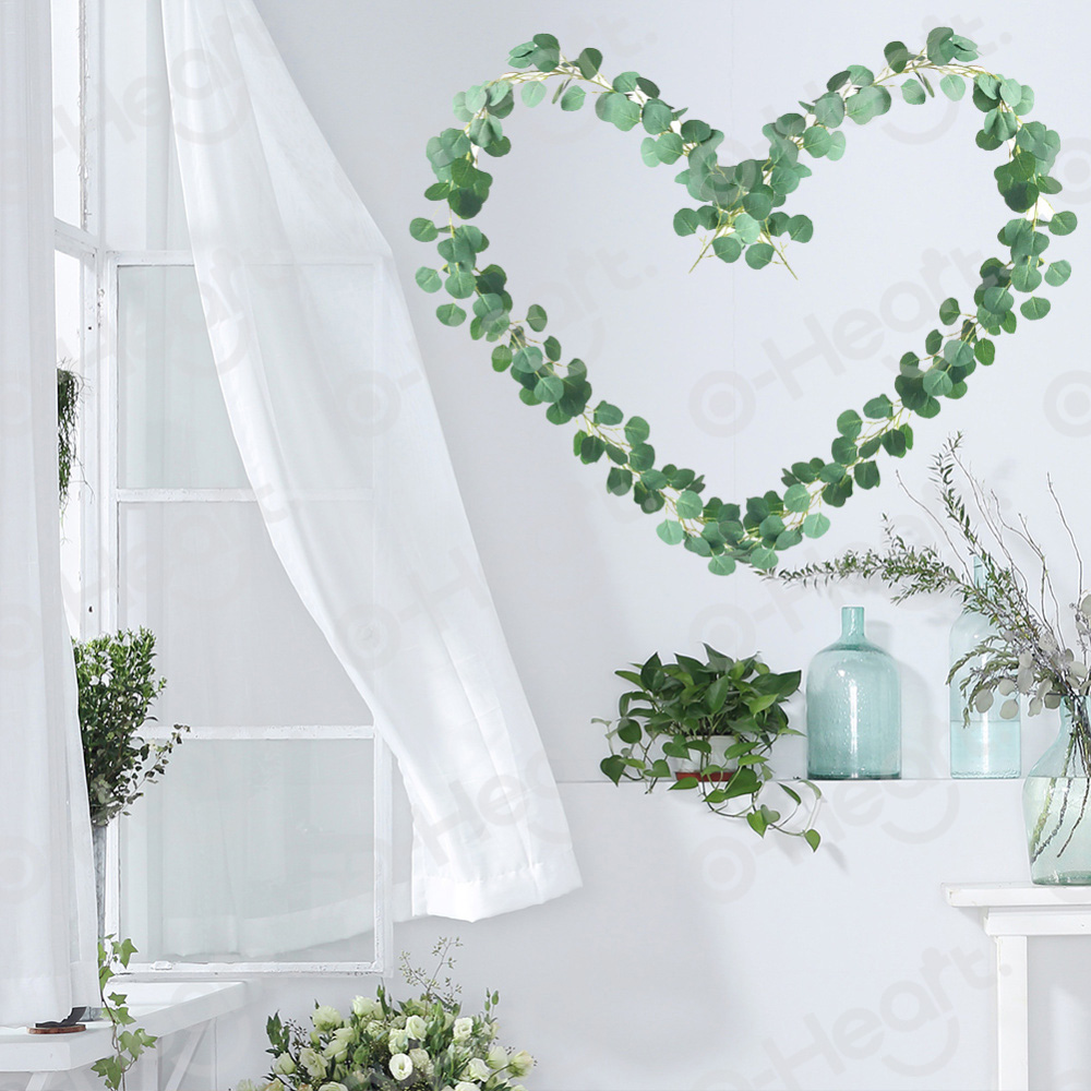 2M Wedding Faux Eucalyptus Garland Fake Silk Leaves Vines Artificial Plant Greenery Garland for Home wedding Table Arch Decor in Artificial Plants from Home Garden
