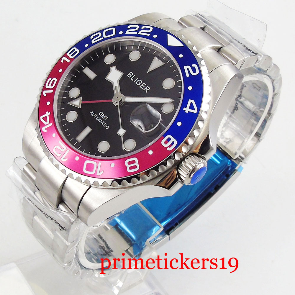 Bliger 40mm black dial date sapphire glass GMT blue and res bezel automatic movement wristwatch