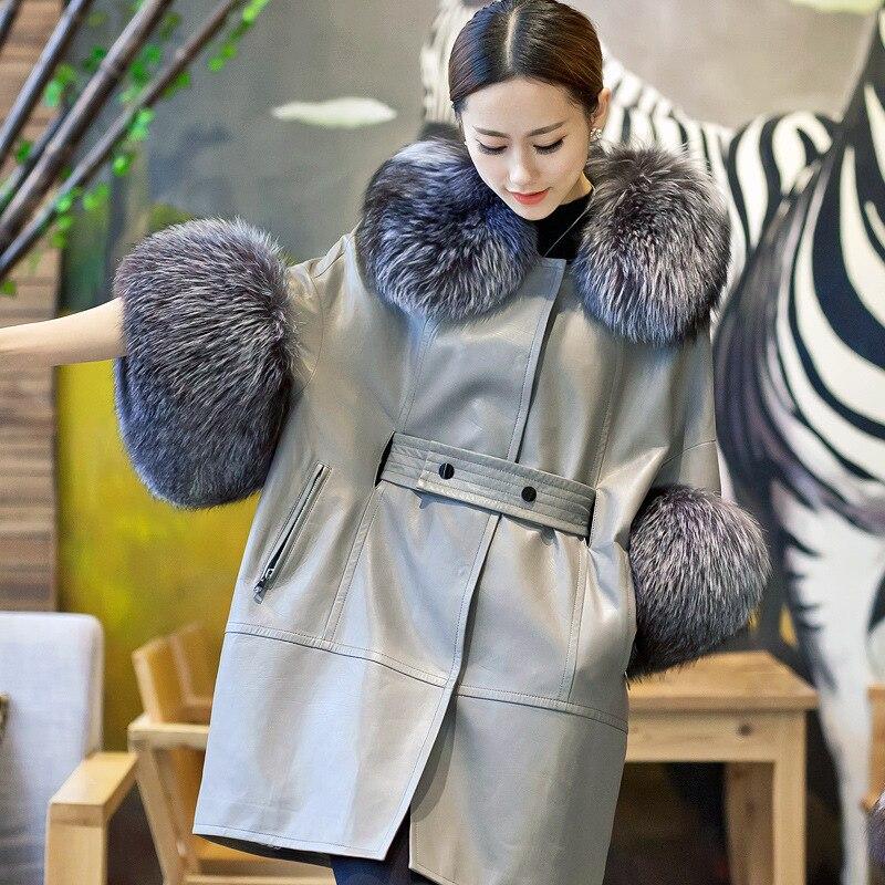 [TVVOVVIN] 2019 automne et hiver nouveaux produits mode manches chauve souris renard fourrure col en peau de mouton en cuir imitation fourrure manteau B145 - 6