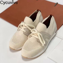 Loafers Shoes White Mules Lace-Up Walk Casual Woman Ladies Comfy Kintted Breathable Femme