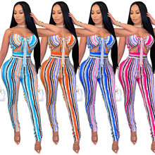 Zoctuo Stripes Painting Jumpsuit For Women Spaghetti Strap Hollow Out Rompers Bowknot Sexy Backless Skinny Jumpsuits