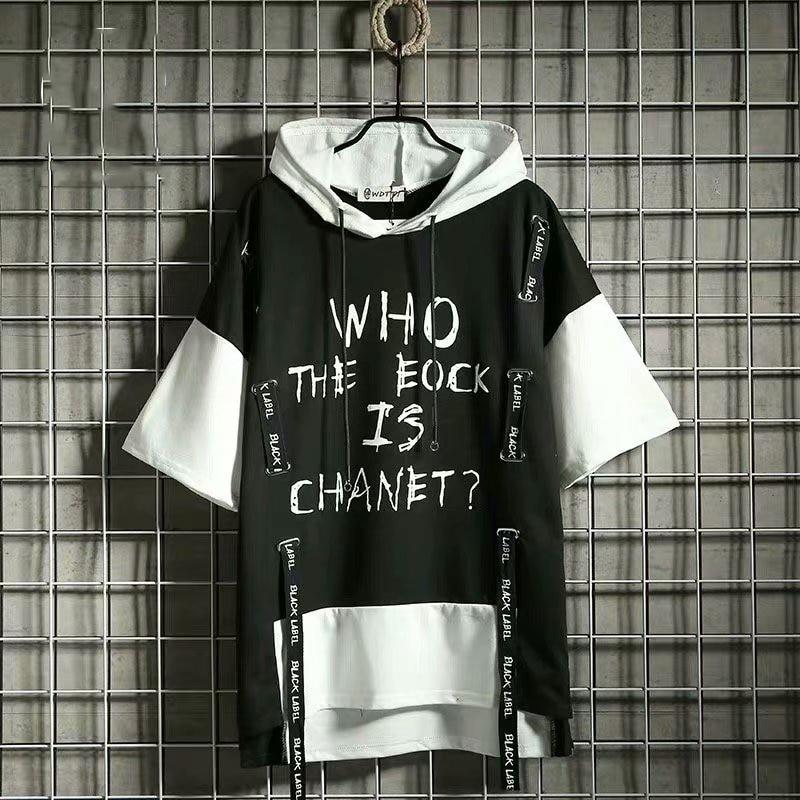 2020 Summer Hooded Men's Punk Style Harajuku Ribbon Half sleeve Hoodies Male Casual Hip Hop Sweatshirts Streetwear Mens Hoodies
