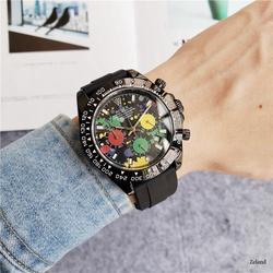 brand fashion classic quartz mens watch 2020 chronograph rubber belt date wristwatch rose gold metal watch men 85