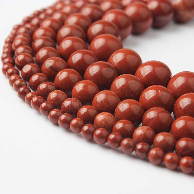 LanLi 4 6 8 10 12mm Natural Redstone Loose Beads DIY Fashion bracelet necklace Jewellery Accessories