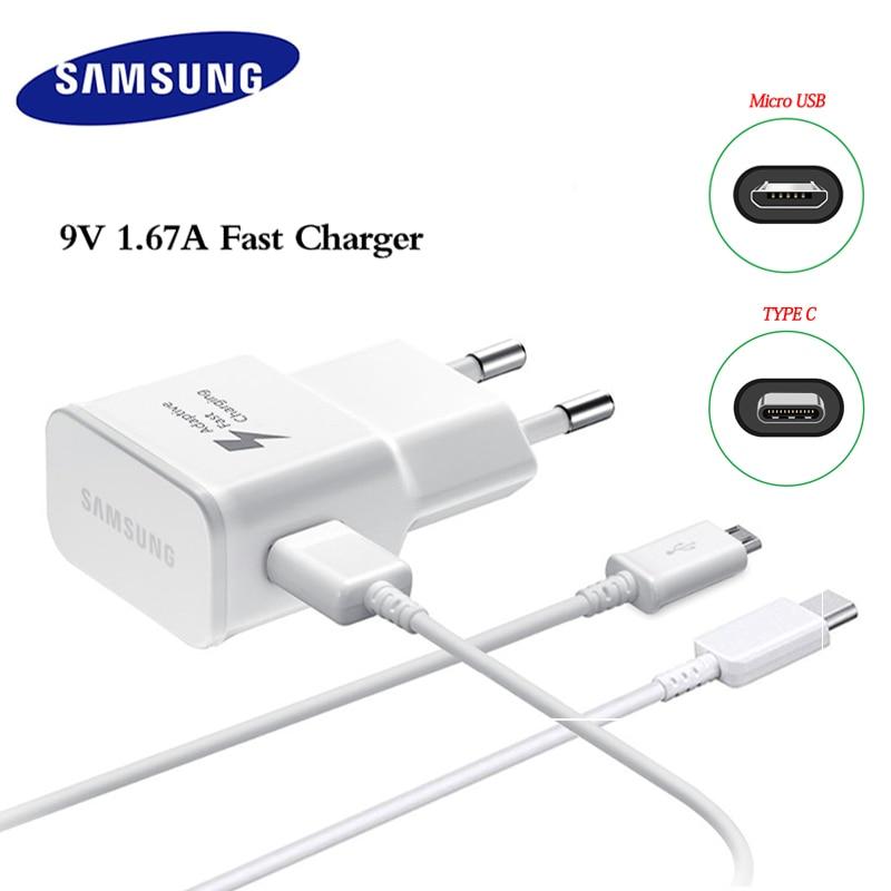 Samsung 9 v 1.67a carregador adaptável rápido carga rápida 1m 1.5m micro usb TYPE-C cabo para galaxy note 4 5 s4 s6 s7 borda a3 a5 a7 a9