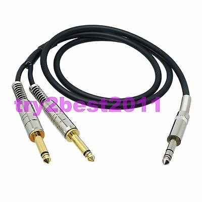 DHL/EMS 10 Sets 6.35mm Male Plug Stereo TRS To 2x 6.35mm Male Plug Mono TS Canare L-4E6S L+R -C1