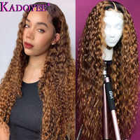 Ombre Lace Front Human Hair Wig for Black Women Colored Deep Wave Wig 13x4 Brazilian Hair Frontal Wig Pre-plucked Remy Brown Wig
