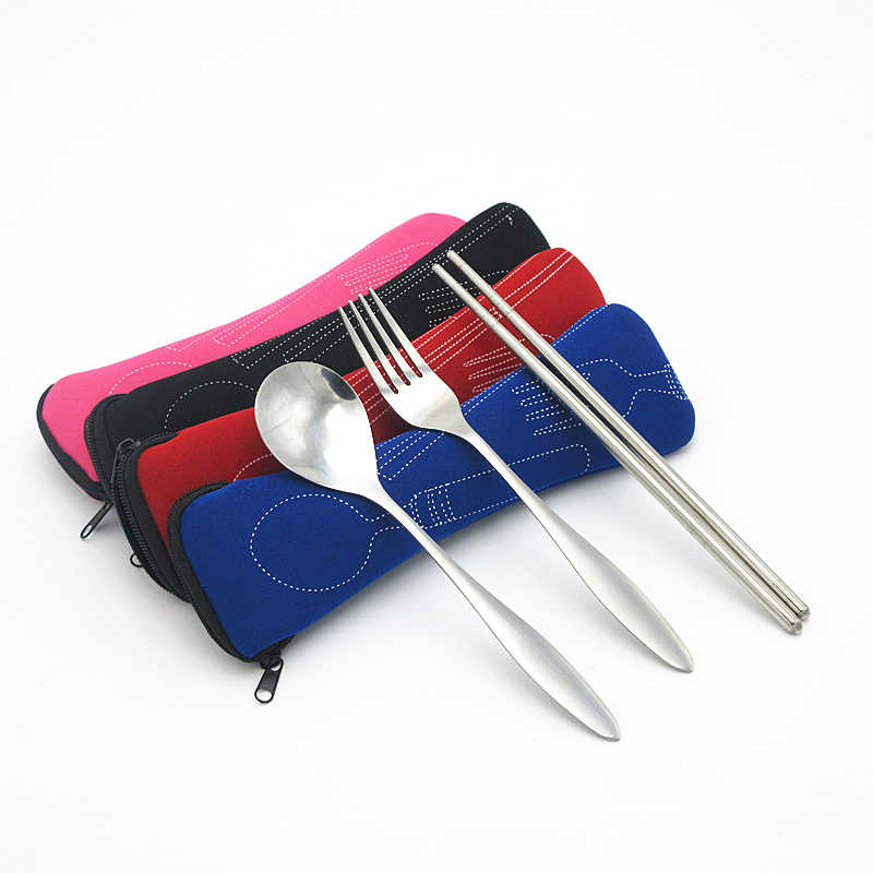 Moda taşınabilir yastık çanta bıçak çatal hava pamuk seyahat çatal bıçak takımı çantası fermuar çubuklarını moda bıçak çatal hava yastığı