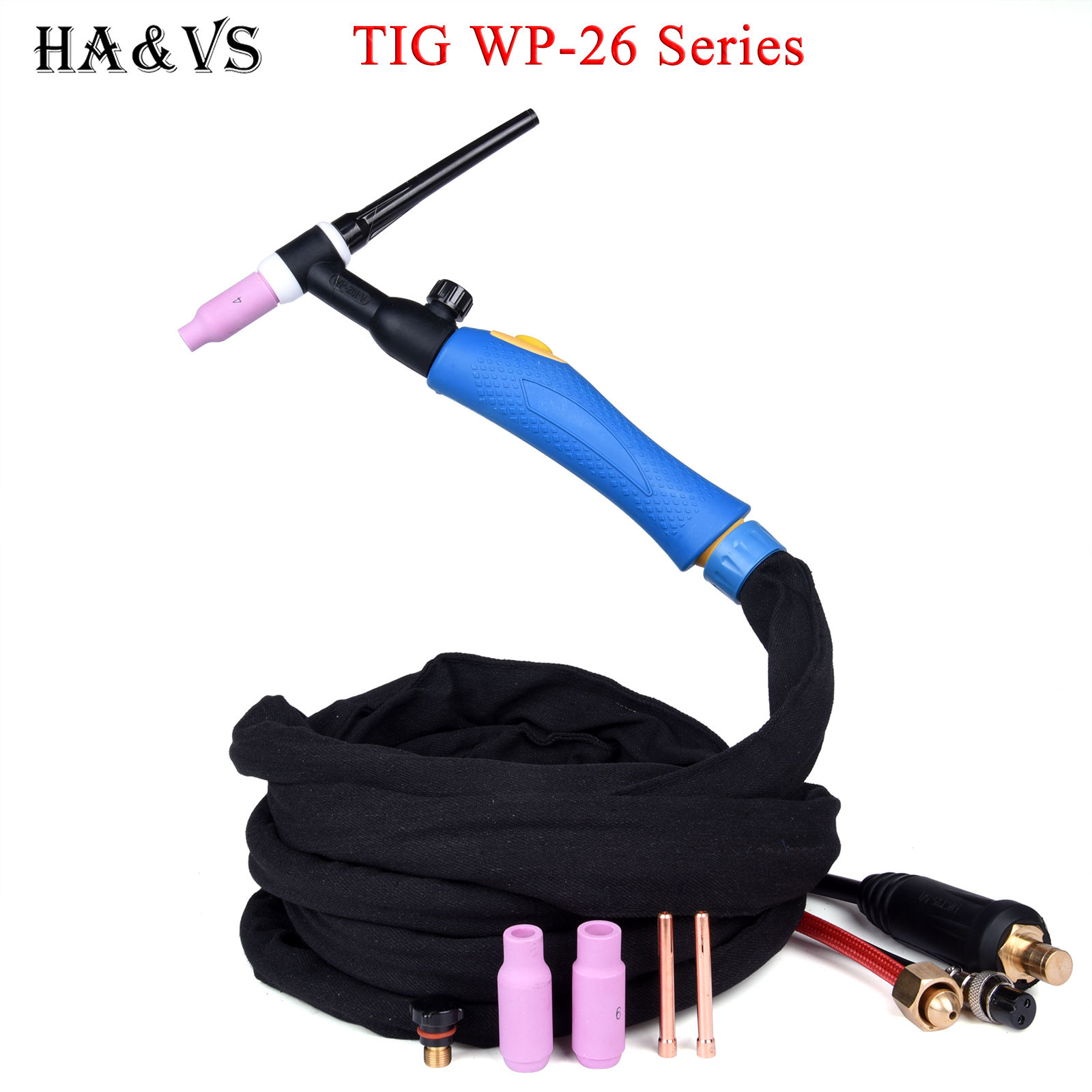 WP26 WP26FV TIG Welding Torch Gas Tungsten Arc Weld TIG Flexible Head Gas Valve Separated Type 3 7M 35-50 Euro Connector 12 1Ft