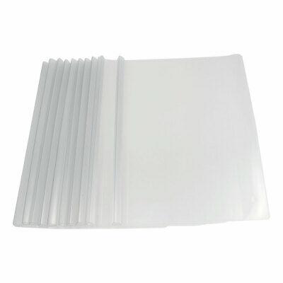 10 Pcs Plastic Clear White Sliding Bar File Folder For A4 Paper Report