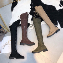 Knee Boots 2020 Woman Fashion Winter Snow Boots Lace Up Casual Plus Size Female Round Toe Flat Over Knee Boots Women's Shoes lakeshi round toe women boots winter boots female ankle boots women fashion lace up casual shoes woman plus size cotton shoes
