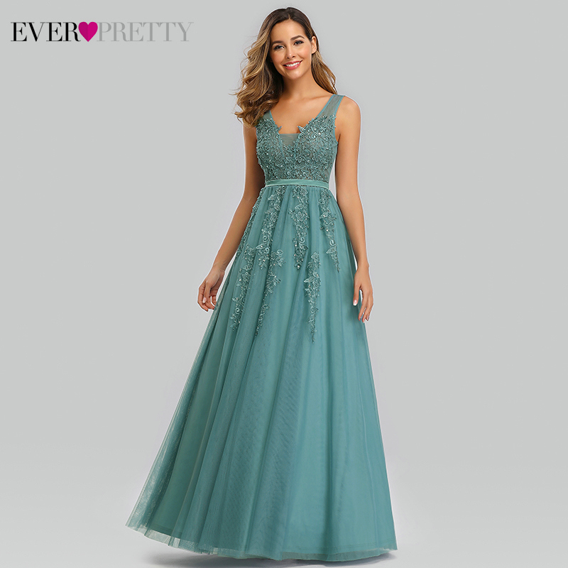 Elegant Prom Dresses Long Ever Pretty A-Line Double V-Neck Lace Appliques Formal Evening Party Gowns Vestidos Formatura Longo