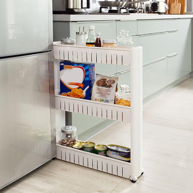 54.5*12.5*71cm Slim Slide Out Storage Rack Holder Organizer Moving Wheel Trolley Three Layers Detachable Kitchen Bathroom Tool