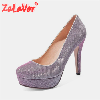 ZALAVOR Size 34-45 Women Pumps Shoes Fashion Platform Sexy Thin High Heels Shoes Women Stylish Round Toe Party Lady Footwear