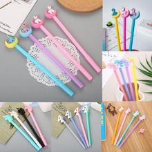 1pc Unicorn Pen Kawaii Silicone Head Gel Black Ink Signature Student Office School Supplies Cartoon Stationery