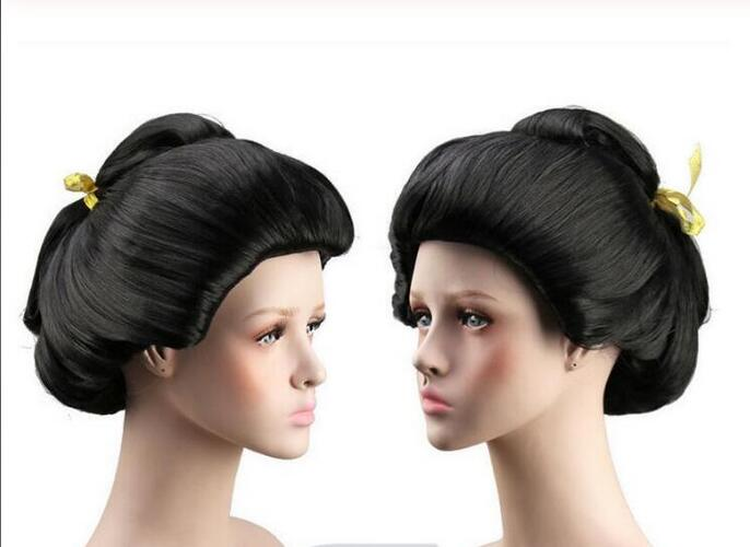 Парик Горячая Косплей женщин черный парик гейши полный парик пластины волос аниме парик