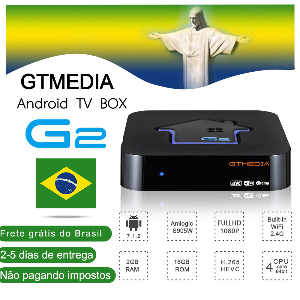 [Brazil] GTMEDIA G2 TV Box+IPTV Server 4K HDR Android 7.1 Ultra HD 2G 16G WIFI Google Cast Netflix IPTV Set Top Box Media Player