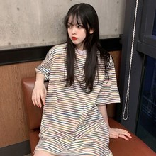 Oversized Striped Rainbow Dress tshirt Female Casual Summer Dress Loose O-neck Short Sleeve Long Shirt Letter Print Robe