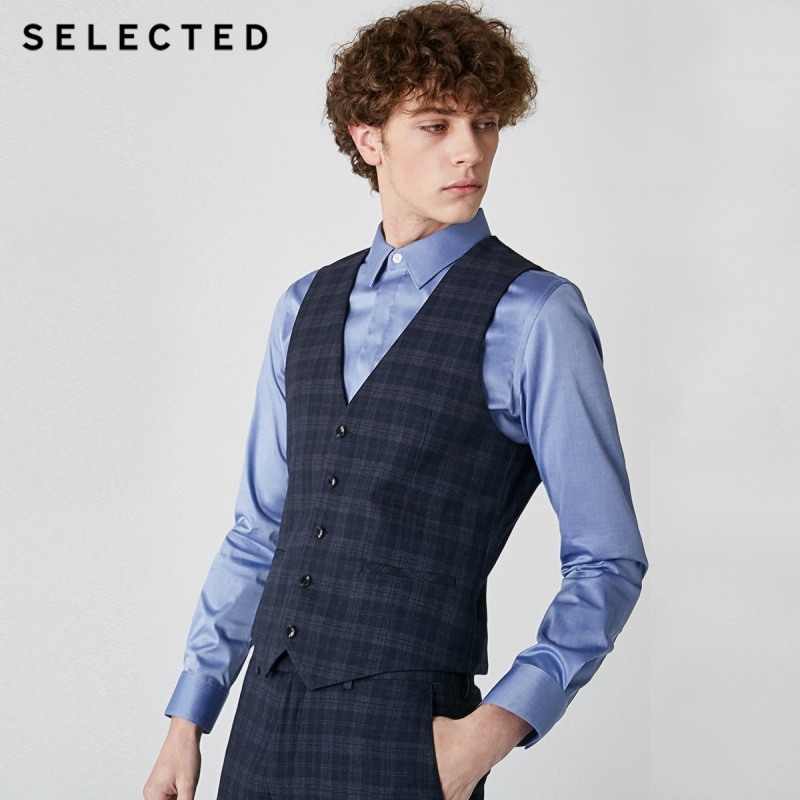 SELECTED Me's Slim Fit Dark Plaid Waistcoat Business Casual Single-breasted Suit Vest  T 419134502