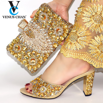 Fashion Rhinestone Woman Shoes And Matching Bag Set Novelty Style Gold Color Pumps Shoes And Bag Set For Party Wedding