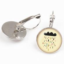 Fashion New Cute Comic Rain Cloud Umbrella Earrings Silver Bronze Black Glass Cabochon Beautiful Girl Gift Crystal