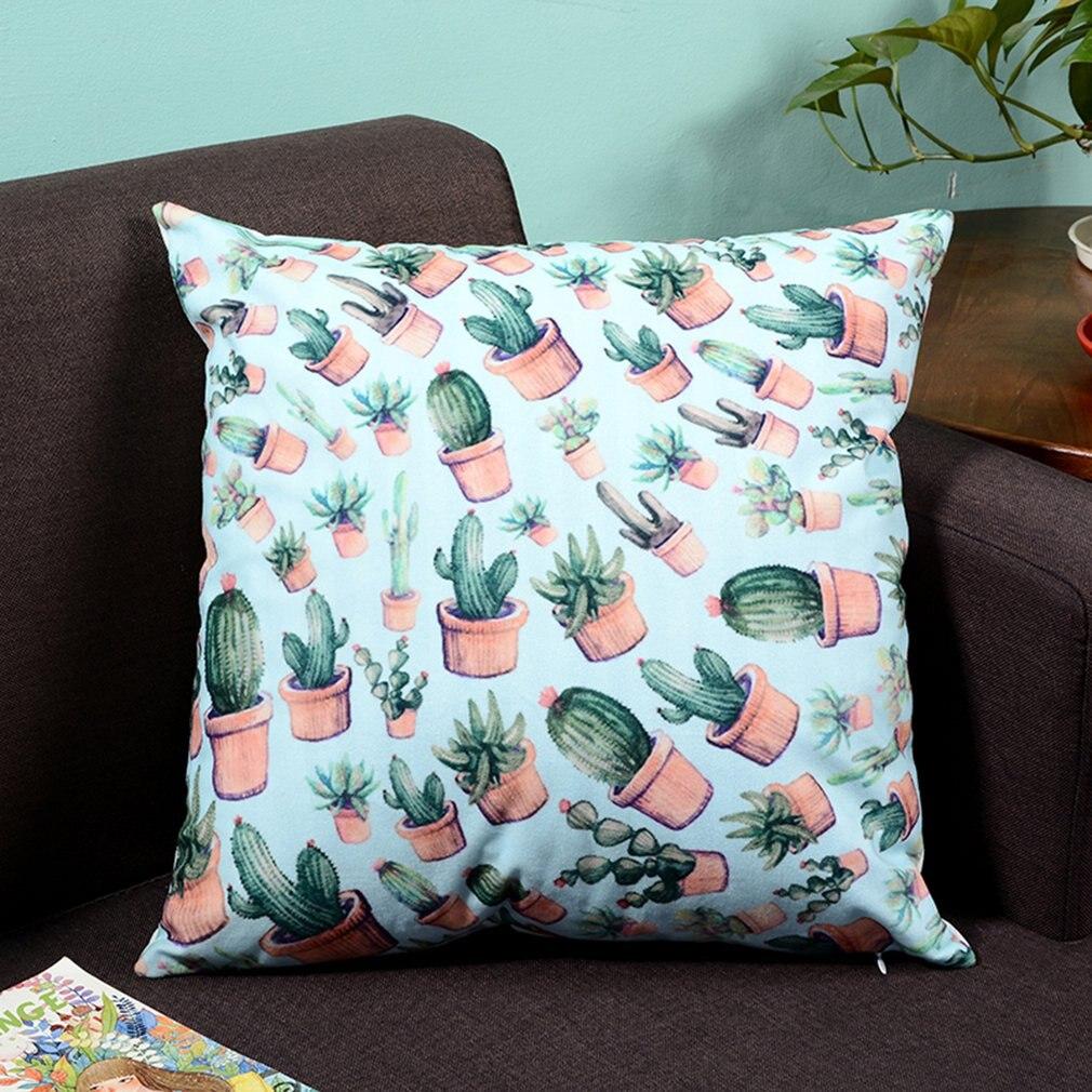 Super Soft Printing Tropical Plant 45x45CM Foundation Cactus Direct Digital Printing Cushion Potted Cactus Super Soft Pillow