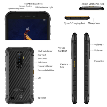 Ulefone Armor X8 Rugged Waterproof Smartphone Android10 5.7-inch Cell Phone 4GB 64GB  ip68 Octa-core  NFC 4G LTE Mobile Phone 5