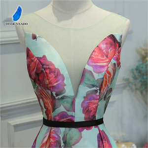 Image 4 - DEERVEADO Evening Dress Long Flower Print Formal Dress Elegant Woman Occasion Party Dresses Evening Gown Robe De Soiree M218