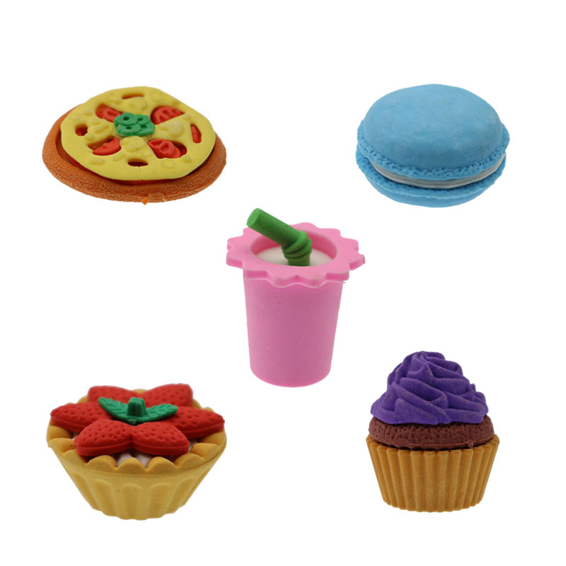 5 Pieces Dessert Eraser Rubber Rub Durable Detachable Cake Dessert Pencil Child Student Stationery Gift School Supplies