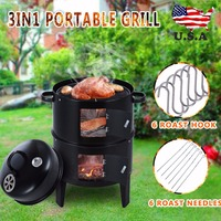 3 in 1 Portable Charcoal Vertical Smoker Grill BBQ Roaster Outdoor Camping Charcoal Stove Grill Cooking Tools