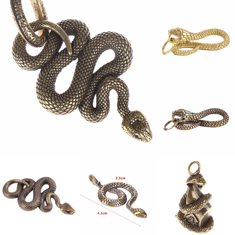 1PCS Brass Snake Key Ring Boa Key chain Outdoor Accessories EDC Copper Snake Car Hanging