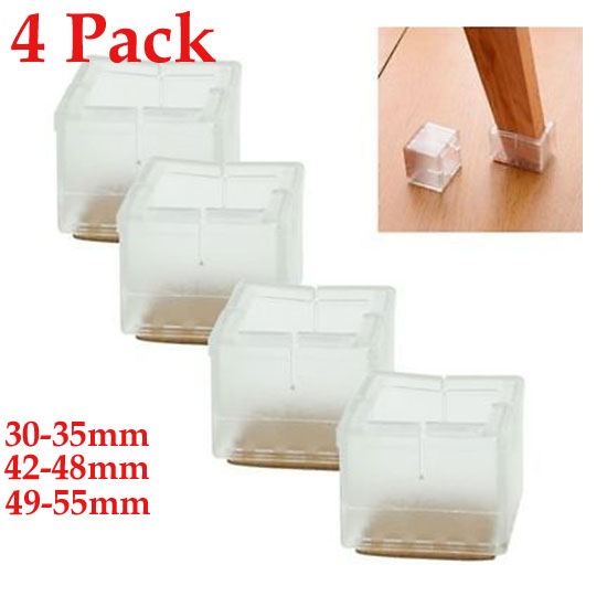4PCS X Silicone Rubber Square Chair Leg Caps Feet Pads Furniture Table Covers Floor Protectors