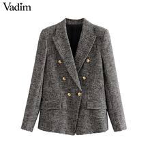 Vadim ผู้หญิงอย่างเป็นทางการ Houndstooth Tweed เสื้อคู่แขนยาวกระเป๋าเสื้อสำนักงานเสื้อลำลอง CA601