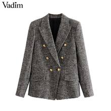 Vadim vrouwen formele houndstooth tweed blazer double breasted lange mouwen pockets jassen office wear casual tops CA601