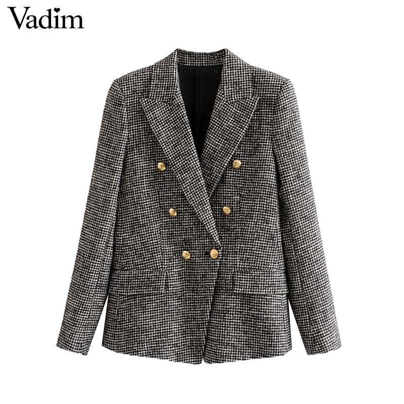 Vadim Tweed Blazer Pockets-Coats Office-Wear Long-Sleeve Houndstooth Formal Double-Breasted title=