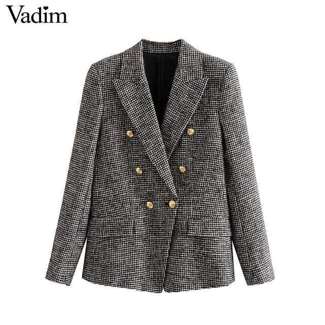 Vadim women formal houndstooth tweed blazer double breasted long sleeve pockets coats office wear casual tops CA601