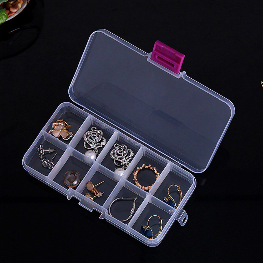 Portable 10 Compartments Transparent Pill Organizers for Storage of Tablets and Capsules in Large Size 3