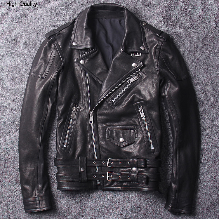 Man's Genuine Leather Jacket Vegetable Tanning Sheep Skin Motorcycle Coat Youth Style Lapel Slim Short Autumn Winter Clothing