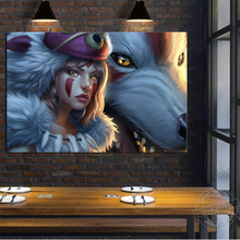 No Frame Mononoke Hime Cartoon Painting Princess Poster Moro Wolf Wall Pictures for Children Room Decor Canvas