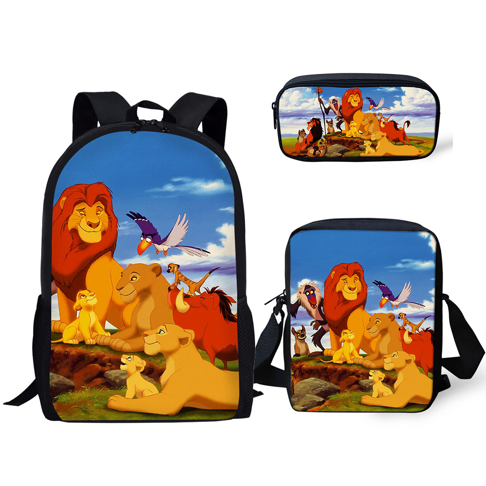 HaoYun 3PCs/Set Children's School Backpack The Lion King PPatten Kids School Bags Cartoon Animal Design Teenagers Book-Bags Set