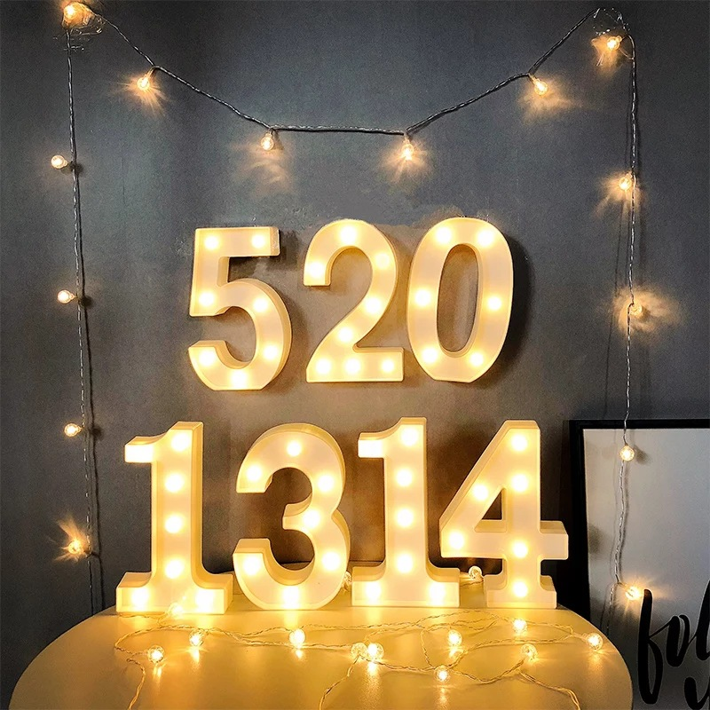 0-9  Numbe  LED Blub Marquee Letter Night Light Alphabet 3V AA Battery Home Culb Wall Decoration Party Wedding Birthday Decor