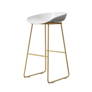 Nordic Bar Chair Coffee Shop Leisure Stool Simple   Designer Iron Art Gold High  Soft Cushion