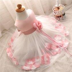 Платье принцессы с цветочным рисунком для маленьких девочек, платье на день рождения, крестины, детское платье для подружки невесты, свадеб...