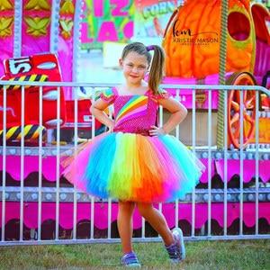 Image 5 - Jojo Siwa Tutu Dress with Hair Bow Rainbow Girls Princess Dress Tulle Kids Tutu Dresses for Girls Holiday Birthday Party Costume
