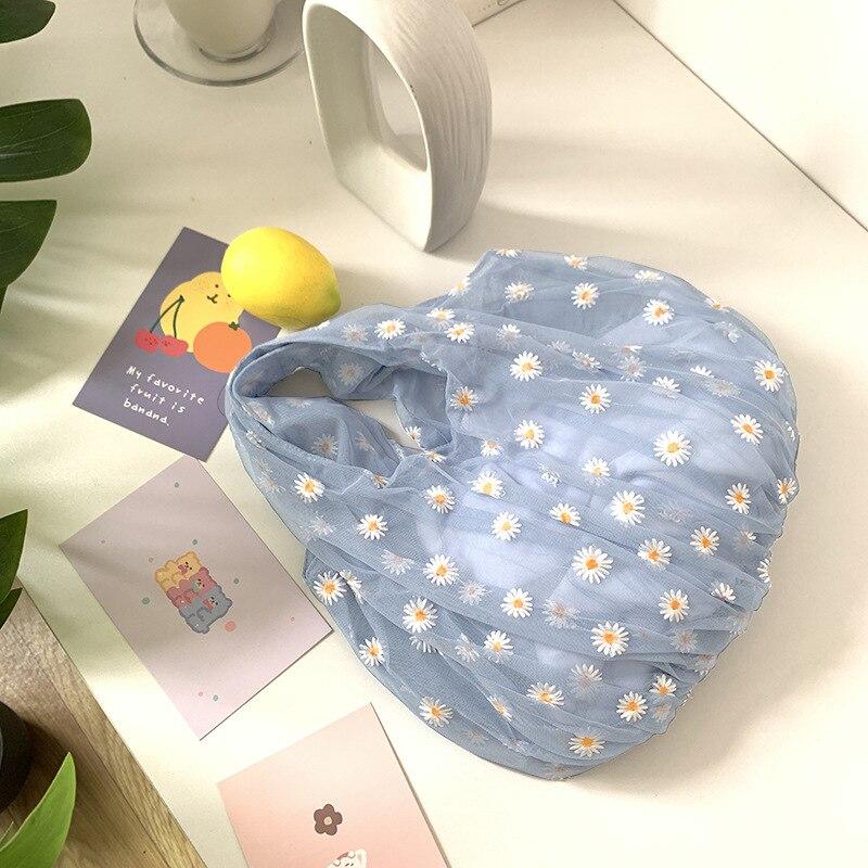 Spring Women Small Transparent Tote Mesh Cloth Bag Daisy Embroidery Handbag High Quality Eco Fruit Bag Purse For Girls