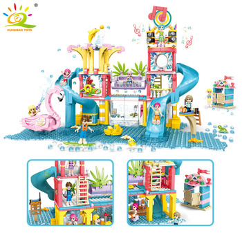 HUIQIBAO 971Pcs City Water Park Summer Holiday Building Blocks Swimming Pool Toys Girl Friends Figures Bricks For Children Gifts huiqibao 686pcs magic world hedwig building blocks city wizarding world enchanter owl animal figures bricks toys for children